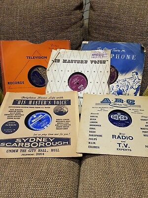 Job Lot of 5 78 rpm Vinyl Shellac Vintage Records Upcycle Prop Craft