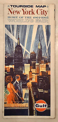 1964 1965 New York World's Fair Gulf Oil Tour Guide NYC Map Very Good Condition