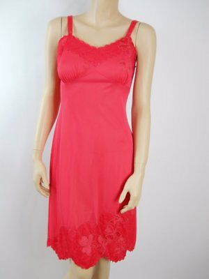 6144c7fa2615 vintage full Dress Slip nylon 1960s sz 34 red Lace fitted pin up burlesque  #814