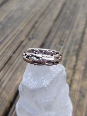 Vintage Sterling Silver Chain Link Band Ring 9.5 Signed Unique Design Thick Nice