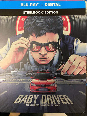 Baby Driver Steelbook+Blu-Ray No DVD/Digital Like New FAST FREE Combine SHIPPING