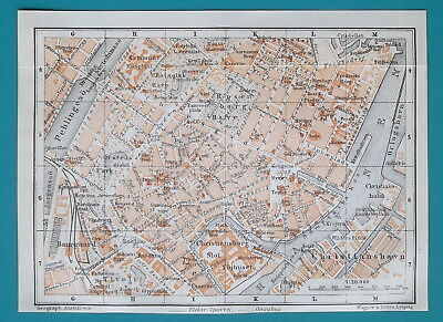 "DENMARK Copenhagen City Center Plan - 1912 Baedeker Map 4.5 x 6"" (11 x 15)"