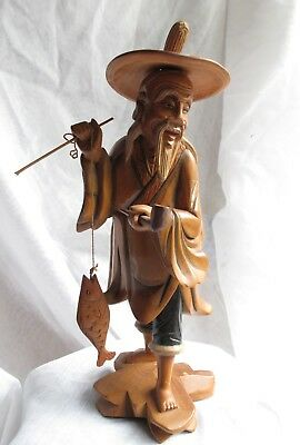 Vintage Wooden Hand Carved Oriental Fishing Man