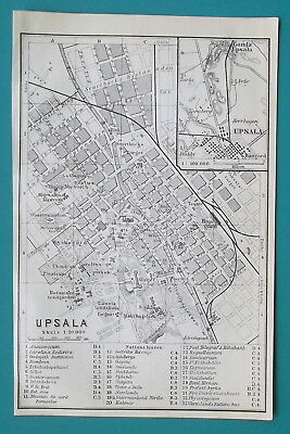 "SWEDEN Upsala City Town Plan - 1912 Baedeker Map 4"" x 6"" (10 x 15 cm)"