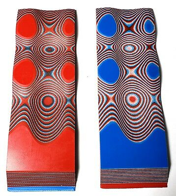"G10 RED / WHITE / BLUE LAYERED .187"" 6"" x 2"" KNIFE HANDLE MATERIAL SCALES 2 Pcs."