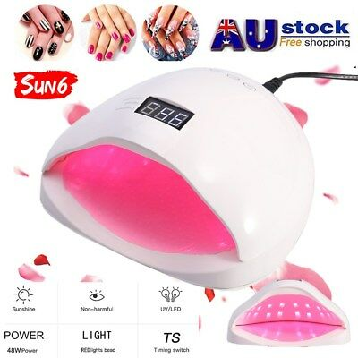 New SUN6 48W LED UV Nail Lamp Light Gel Polish Dryer Art Curing Manicure AU Plug