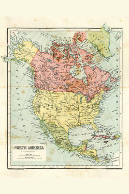 North America 19th Century Antique Style Map Poster 12x18 inch