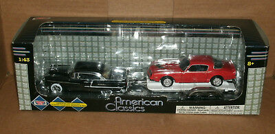 1/43 Scale 1955 Chevy with 1977 Pontiac Trans Am on Trailer - MotorMax 78670AC