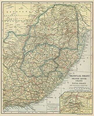 Transvaal Colony, Orange River Col. Natal Col. 1907 (Dated) Cities, Topo, RRs ++