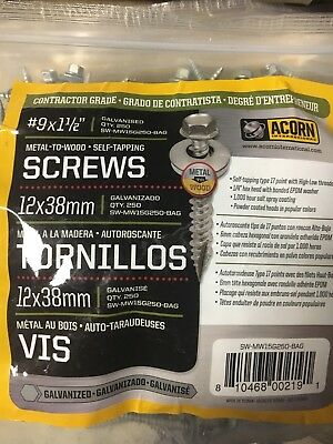 New Lot Of (750) Acorn Sw-Mw15G250 3 Bags Galvanized 1-1/2 Metal Roofing Screws