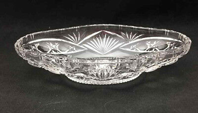 Large Oval Relish Dish very decorative - Heavy Clear Glass