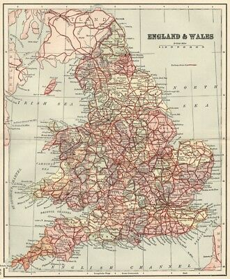 Map Of England And Wales With Towns.England Wales Map 1891 With Counties Towns Railroads