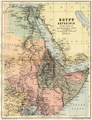 Egypt, Abyssinia Map: Authentic 1895; Shows East Equatorial Africa +