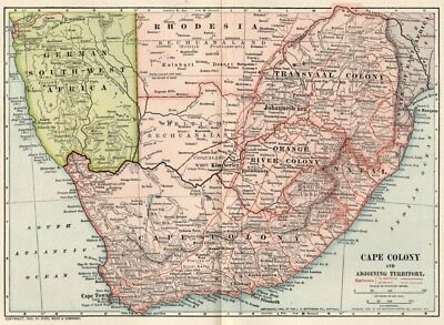 Cape Colony, S. Africa Map: Authentic 1902 (Dated) Towns, Cities, RRs, Topograph