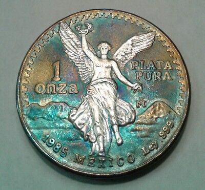 1985 - Mexican Libertad 1oz Silver Coin With Beautiful Toning, Toned.