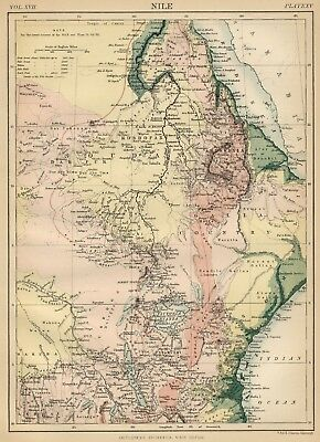 Nile Region; Egypt / North Africa: Authentic 1889 Map showing Topography