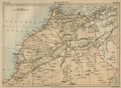 Kingdom of Morocco: Authentic 1889 Map showing Cities; Rivers; Topography