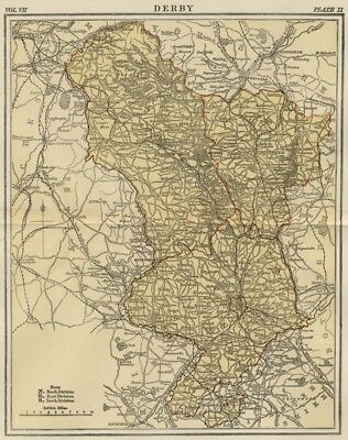 DERBY COUNTY ENGLAND: Detailed 1889 Map showing Town; Cities ...