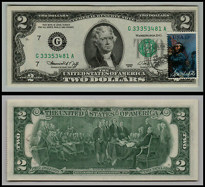 1976 $2 Dollar Bill 1St Day Issue Stamped Bicentennial Federal Rese Lot-0905