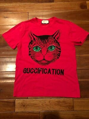 8ac354aff39 GUCCI Authentic Pink Cotton Mystic Cat   Guccification Embroidered T-shirt M