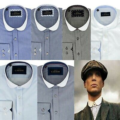 Mens Peaky Blinders Penny Collar Shirt Cotton Blend Plain Stripe Check Slim Fit