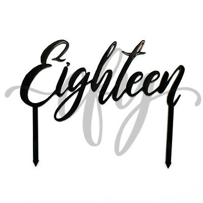 18th Birthday Cake Topper Acrylic Party Decorations Script Eighteen Black