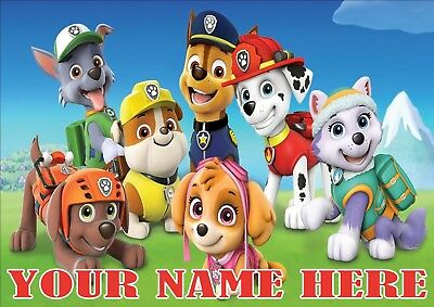 Paw Patrol Posters A4 Print, Add Any Nam (See All Characters)