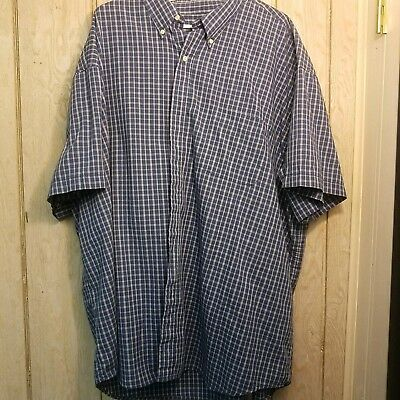 dc7ad3e0952e Basic Editions Mens blue and white Plaid Button Down Shirt Size 4xl short  sleeve