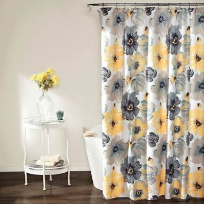Lush Decor Leah Yellow And Gray Shower Curtain