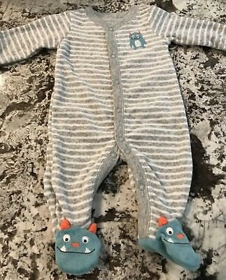 0ae6a9408 CARTER S BABY BOY 1Pc Whale Striped Footed L s Cotton Sleeper ...
