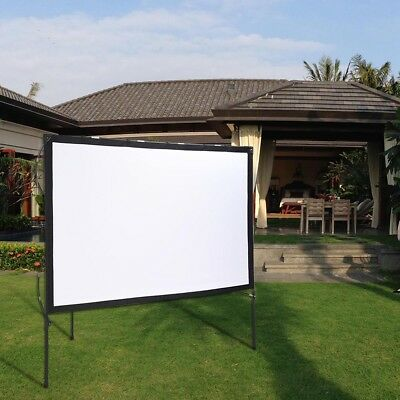 """77"""" 16:9 Portable Projector Screen with Foldable Frame Stand Outdoor Home"""