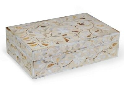 Handmade White Wooden Modern Art Mother Of Pearl Inlay Jewelry Box