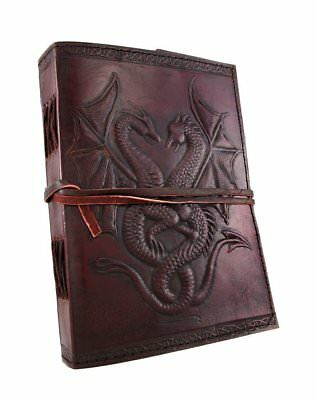 Handmade Double Dragon Tooled Leather Blank Journal Diary Notebook Book 5x7 inch