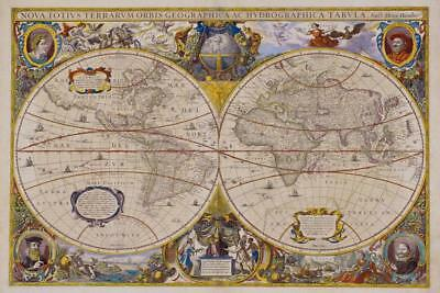 Seventeenth Century World Antique Style Map Poster 24x36 inch