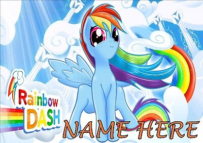 My Little Pony Rainbow Dash Poster A4 Print, Add Any Name