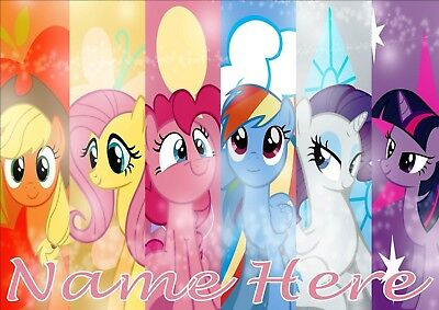 My Little Pony Poster A4 Print, Add Any Name