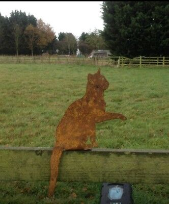 Rusty Metal Sitting Cat Fence Topper Silhouette Garden Ornament