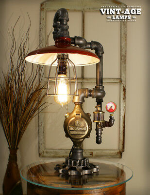 Industrial Steampunk Red Shade / Gauge Lamp ( Limited Time )