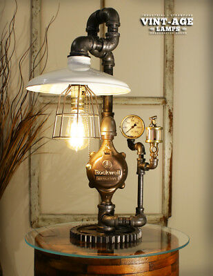 Industrial Steampunk Single White Shade / Gauge Lamp ( Limited Time )