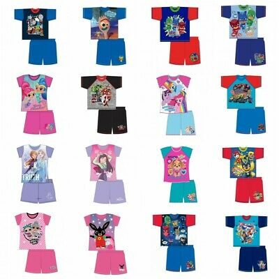 Boys Girls Baby Kids Shortie Short Summer Pyjamas Pajamas PJs T-Shirt 1-10 Yrs