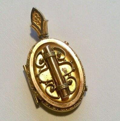 Victorian Etruscan locket Pendant aesthetic period ornate. repousse. gold #2
