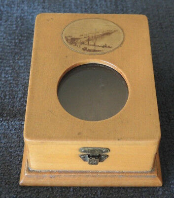 Mauchline Ware Treen Lidded Box Eastbourne Pier Glass Porthole On Cover #9
