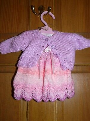 """Lovely handknitted dolls 2 piece dress set  for 16-18"""" doll"""
