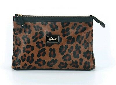 f8fbb00ad2ce LIZ SOTO BLACK BROWN Animal Print Hair Calf Smooth Leather Jeweled ...