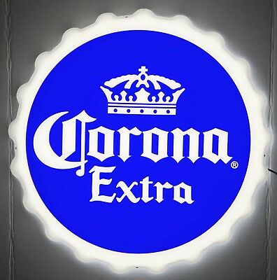"Corona Extra Cerveza Crown Logo Bottle Cap LED Beer Sign 20"" - Brand New In Box!"