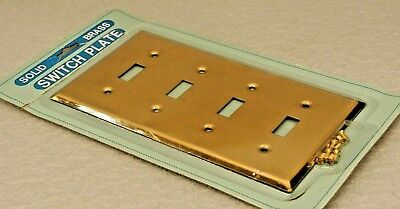 Vintage NOS Solid Polished Brass Electric Metal Switch Plate 4 Gang w/screws