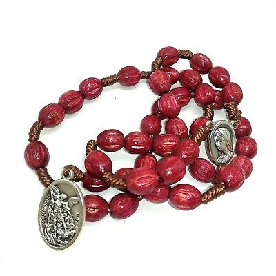 St Michael The Archangel Chaplet, Wooden Rosary, Red Catholic Prayer Beads