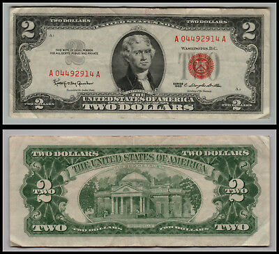 1963 $2 Dollar  Us Note Legal Tender Paper Money Currency Red Seal L= E258