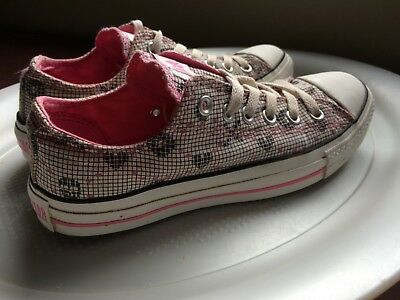 Converse ALL STAR SNEAKER WOMENS SHOES SIZE 7 PINK XOXO HEART CANVAS FREE SHIP