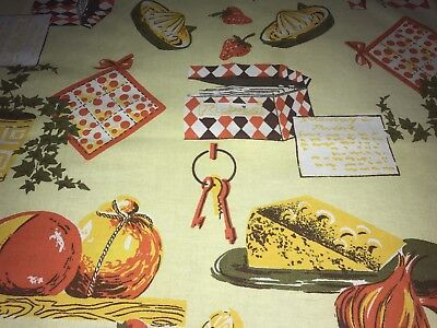 Vintage Kitsch Tablecloth Retro Kitchenalia Recipes Lemon Squeezer